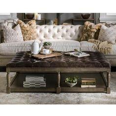 Thomas Leather Ottoman in Valencia Dark Brown | Nebraska Furniture Mart