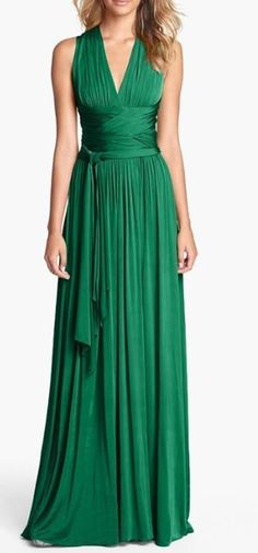 This is gorgeous formal dress. Amazing color, shows of the hourglass figure but doesn't flash any cleavage... shows off the arms while hiding that not so lovely underarm area.
