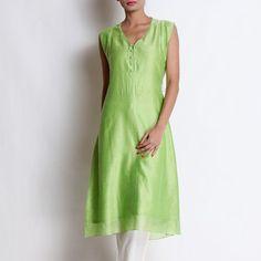 Lime Green Chanderi Kurta With Pallazo Kurta Designs Women, Salwar Suits, Indian Outfits, Lime, Summer Dresses, Green, Fashion, Moda, Limes