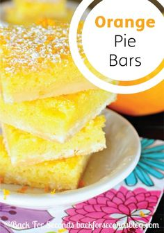 We love anything covered in powdered sugar! Try these delectable orange pie bars for an easy spring dessert.