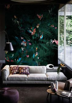 Contemporary Wallpaper 2016 collection by Wall&Decò premiered in Paris Brick Accent Walls, Accent Walls In Living Room, Living Room Green, Living Room Colors, Casa Milano, Accent Wall Designs, Beautiful Sofas, Colorful Wall Art, Contemporary Wallpaper