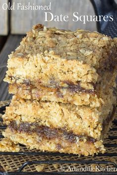 This old fashioned recipe for Date Squares consists of a delicious layer of sweet date filling sandwiched between a crumbly chewy oatmeal crust. #datesquares #matrimonialsquares #dates
