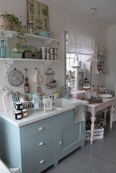 *・゜*:fairynests:*゜・* shabby, shabby chic kitchen, whites, and blue, wall hung utensils,white brackets,white curtains, etc.