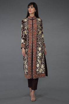 A classic timeless heritage Gara piece, this is a dark mahogany brown pure georgette jacket adorned with hand embroidered Parsi Gara and French Knot birds with floral jaal all over. The embroidery is in shades of ivory and peach. The jacket has a Kurta Skirt, Kurti, Dark Mahogany Brown, Dress Brokat, Embroidery Suits, Embroidery Patterns, Punjabi Dress, Indian Heritage, Embroidered Jacket