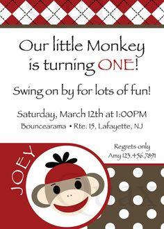 Sock Monkey Invitation Sock Monkey Printable Invite Sock