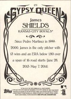 2015 Topps Gypsy Queen #179b James Shields Back