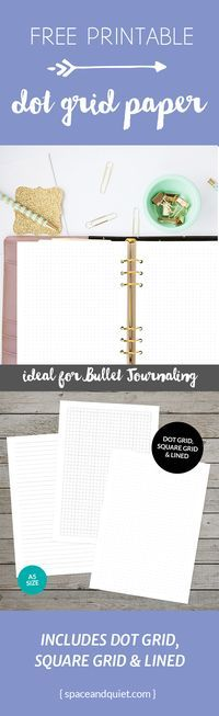 Free printable dot grid paper for bullet journaling. Practise your hand lettering and drawing or add pages to your A5 planner. Click through to download the PDF files. #bulletjournal #bulletjournaling #dotgridpaper #bulletjournalprintable #freeprintable #spaceandquiet