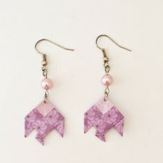 Boucles d'oreilles poisson en papier origami violet de la boutique LatelierdIsabo sur Etsy