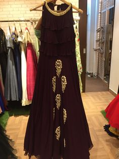 Beautiful Viscos Gown with crop layerd top yoke. Embellished with hand embroidery. Simple Elegant Dresses, Nice Dresses, Long Dresses, Maxi Dresses, Abaya Fashion, Indian Fashion, Dark Purple Prom Dresses, Indian Gowns, Indian Wear