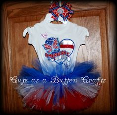 Adorable Patriotic Babys first fourth of July tutu outfit