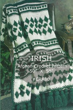I love how the bobbles in this crochet pattern make 4 leaf clovers. Such a pretty afgan for St. Patrick's Day! #afflink #crochet #afghan #stpatricksday