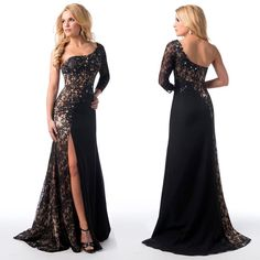 Find More Evening Dresses Information about modest 2015 Sheer Lace Black Evening Dresses with One Shoulder Beaded Chiffon Long Sleeve Side Slit Backless Formal Gowns  ,High Quality dress single,China lace backless dresses Suppliers, Cheap lace halter mini dress from ShangNi  High End Wedding Dresses on Aliexpress.com