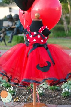 MINNIE MOUSE dress TUTU Party Dress in Red Polka Dots