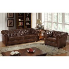 Abbyson Foyer Premium Italian Leather Sofa and Armchair Set - Two Tone Chesnut Brown - CI-9193-BRN-3/1
