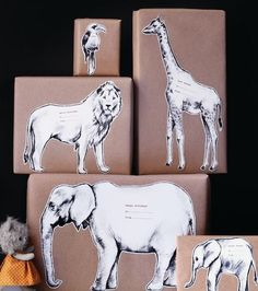DIY safari animal gift wrapping and tags. Great idea!  Make it even easier by using Avery full-sheet labels. Just cut and stick, no glue or tape needed.