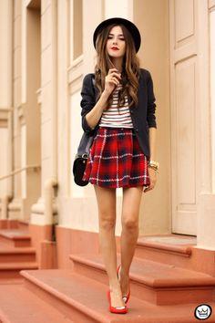 FashionCoolture - 22.03.2015 look du jour Hye Park and Lune stripes tshirt plaid (1)