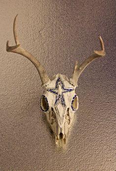 Mosaic deer antlers with skull Blue star      (via Mosaic deer antlers with skull Blue star and by greenglassstudio)