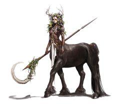 Female Centaur Druid - Pathfinder PFRPG DND D&D 3.5 5th ed d20 fantasy