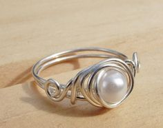 Sterling Silver and White Pearl Ring Choose by wwcsilverjewelry, $20.00