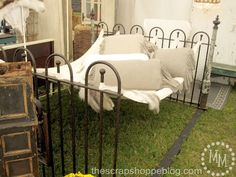 Iron Fence with Hammock.. Saw this at Bella Rustica. Waaaaant it!