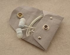 Minimalist  Washable Kraft Paper Earbuds Case / Bag by Yesterwish
