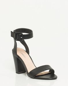 Leather-Like Ankle Strap Sandal - Block-heel sandals will put your flawless style on a pedestal.