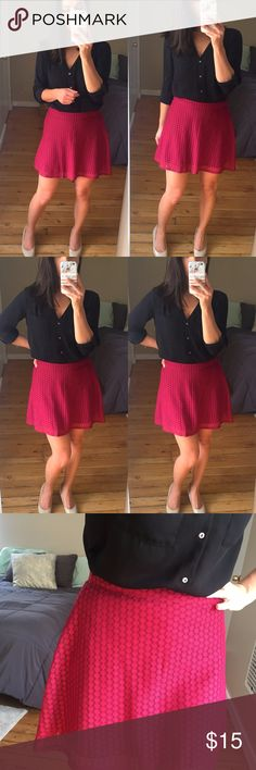 """Burgundy Circular Flare Skirt by No Boundaries This is a Medium 7-9 but would best fit a size Small (check measurements).  Cute circular / round skirt in a burgundy maroon color with a circle pattern. Lined.  Slight stretch to waistband.   Materials: 100% polyester  Measurements (taken lying flat): 14.5"""" waist 22"""" hip 16"""" length  No Trades No Boundaries Skirts Mini"""