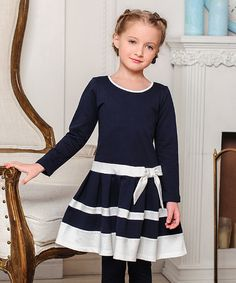 Petite Amelia Navy & Ivory Bow-Front Dress - Toddler & Girls   zulily