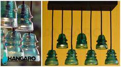 Diseño de lámpara con aislantes antiguos de postes electricos. #Hangaro #Guatemala #CreacionChapina #Vidrio