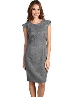 gray sheath dress. would look great with a black blazer