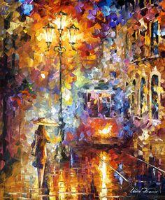 NIGHT STREET - PALETTE KNIFE Oil Painting On Canvas By Leonid Afremov http://afremov.com/NIGHT-STREET-PALETTE-KNIFE-Oil-Painting-On-Canvas-By-Leonid-Afremov-Size-30-x40.html?bid=1&partner=20921&utm_medium=/vpin&utm_campaign=v-ADD-YOUR&utm_source=s-vpin