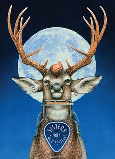 Sisters Folk Festival 2014 poster by Dennis McGregor Sisters Oregon, Folk Festival, Life Is Good, Moose Art, Quilts, Animals, Spirit, Posters, Sewing