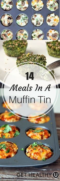 14 Meals In A Muffin Tin – Get Healthy U These 14 muffin tin meals are an easy way to create unique and versatile dishes that are perfect for just one or a big group. Healthy Recipes, Get Healthy, Healthy Snacks, Cooking Recipes, Corn Recipes, Dinner Healthy, Cooking Eggs, Muffin Tin Recipes, Snacks