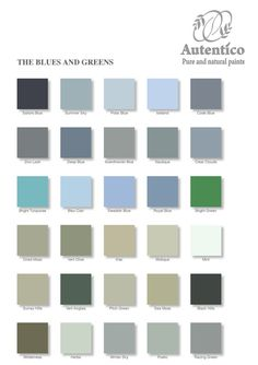 Blues and Greens Colour Chart by Autentico No prep paint. Buy yours today! check our website :)