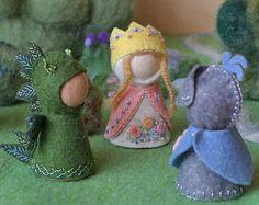 Princess, Dragon and Knight Waldorf inspired pegdoll set in felt clothes