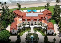 This Mediterranean style oceanfront mega mansion is located at 1071 N Ocean Boulevard in Palm Beach, FL and boasts 240 feet of water frontage. Mega Mansions, Mansions For Sale, Mansions Homes, Beach Mansion, Dream Mansion, Mansion Plans, Luxury Floor Plans, Luxury Homes Dream Houses, Dream House Exterior