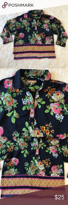 """Ellen Tracy pink floral high low blouse In EUC  high low blue blouse with beautiful floral design. Looks even better in person. Sleeve can be long or half sleeve. Button come half way down. Measurements: 24.5"""" length 26"""" sleeve 20"""" Ellen Tracy Tops Blouses"""