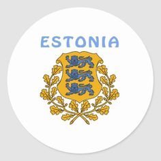 Shop ESTONIA Coat Of Arms Classic Round Sticker created by Huntermind. Estonia Flag, Political Events, National Flag, Coat Of Arms, Round Stickers, Custom Stickers, Flags, Activities For Kids, Kids Outfits