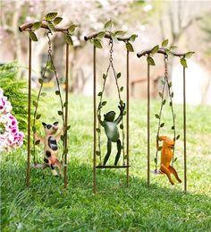 Recycled Metal Swinging Animal Garden D%26#233;cor, Set of 3
