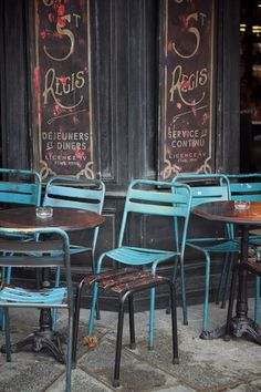 Blue chairs, late afternoon, Paris.