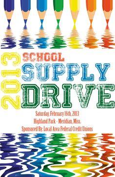 school supply drive flyer  facebook.com/DesignsByJMR
