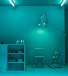 Home Decorators Lighting Collection Monochrome, Monochromatic Room, Light Blue Aesthetic, Solid Color Backgrounds, Blue Palette, Artistic Installation, Home Office, Shades Of Turquoise, Blue Walls