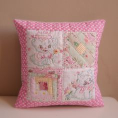 Cushion vintage embroidery hand quilted by Roxy Creations, via Flickr