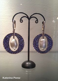 Fehmida Lakhany sapphire , pearls , and diamonds earrings on yellow gold via Katerina Perez