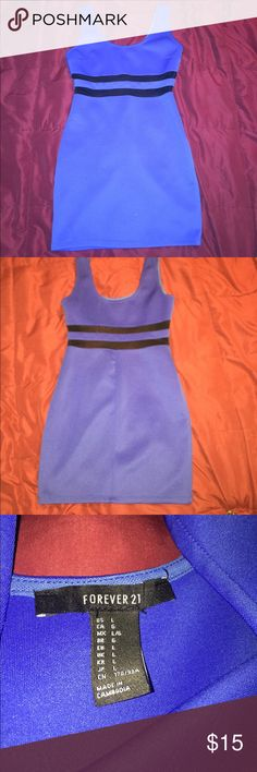 Forever 21 Blue Dress Forever 21 it's blue, the two black stripes are sheer and mid thigh to above the knee Forever 21 Dresses