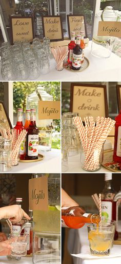 DIY wedding mojito bar--how to get away with having alcohol in a classy inexpensive way at your wedding. choose signature cocktails for guests to serve themselves