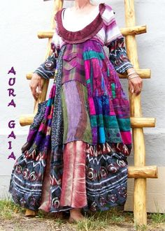 AuraGaia ~She's a Wildflower ~ Poorgirl Patchy Summer Dress Upcycled XL-3X