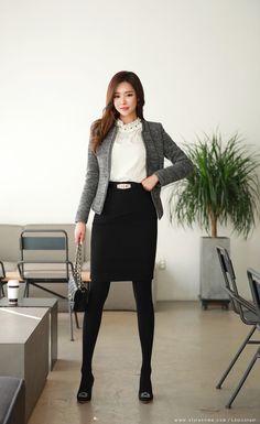 Korean Women`s Fashion Shopping Mall, Styleonme. Classy Women Quotes, Casual Outfits, Fashion Outfits, Women's Fashion, Pencil Skirt Black, Womens Fashion For Work, Office Fashion, Korean Women, Asian Fashion