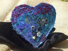 Fabric Heart Brooch  Sari Sequin Mermaid  Folk Art by Shalotte, £10.00