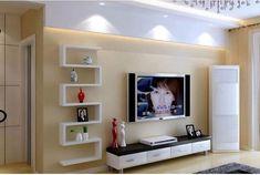 Дизайн полок на стену с телевизором в гостиной
